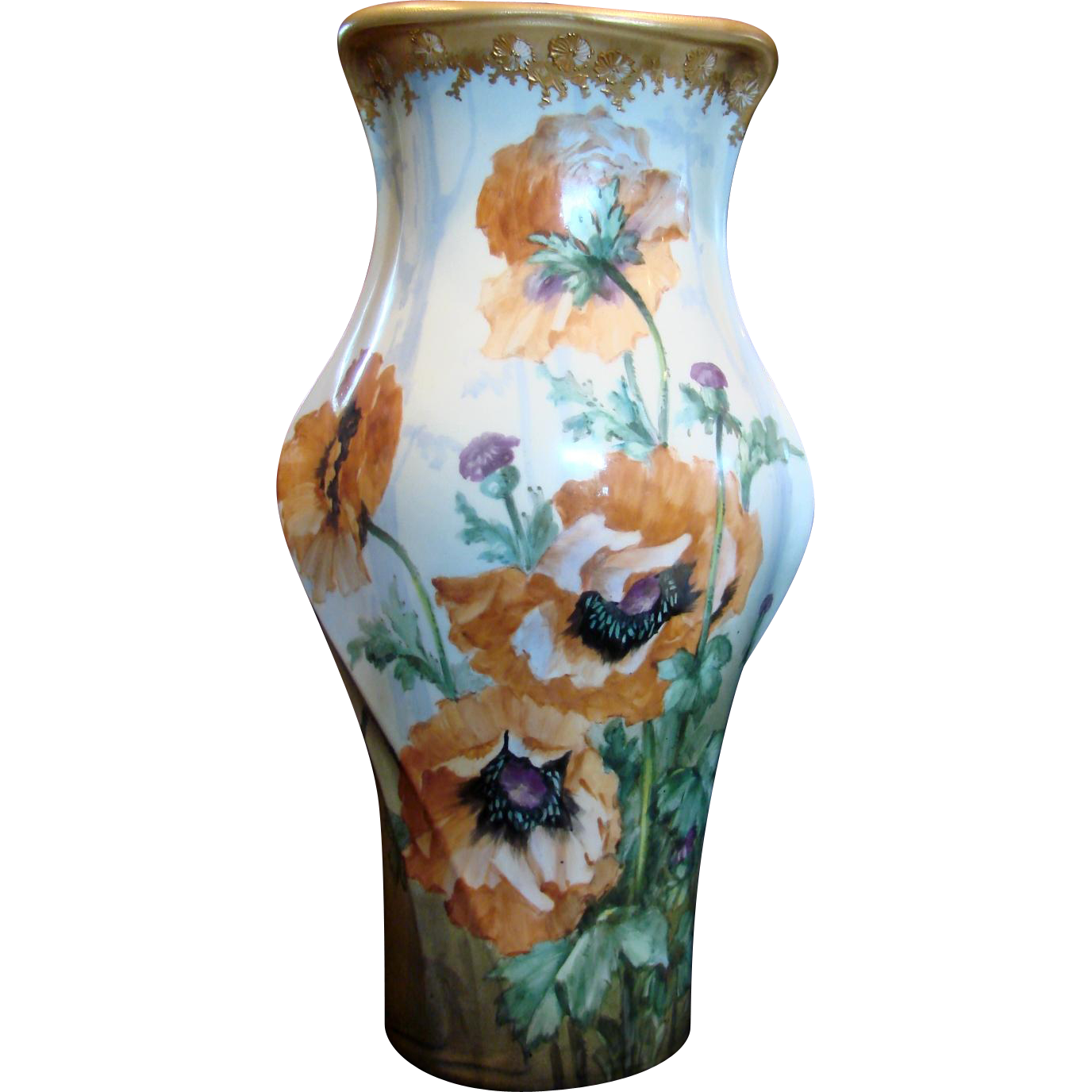 "Bohemian Czech Turn-Teplitz Marked Amphora 14 ½"" Hand Painted Vase Huge Poppies Gold Detail c 1892 - 1905"