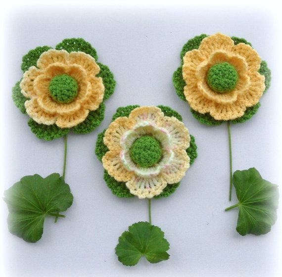 Crochet Applique Crochet Flowers Corsage by CraftsbySigita on Etsy ...
