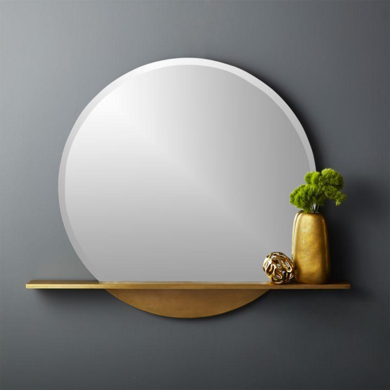 Perch Round Mirror With Shelf 36 Mirror With Shelf Round