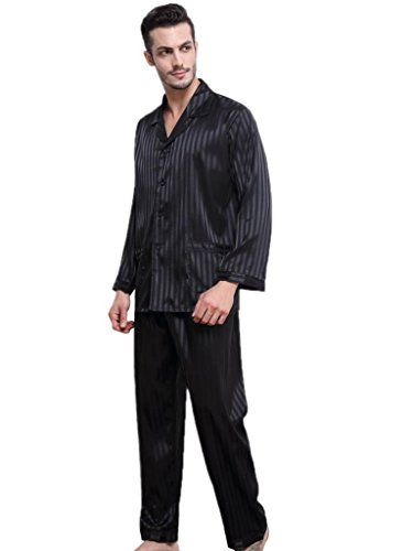 Lonxu Mens Silk Satin Pajamas Set Sleepwear Loungewear Striped S~4XL ... f5293e8bf