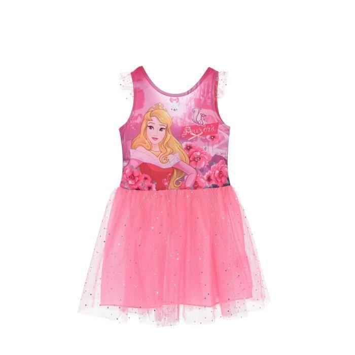 PRINCESSE Robe Sans Manche avec Jupe Rose Sérigraphié Enfant Fille