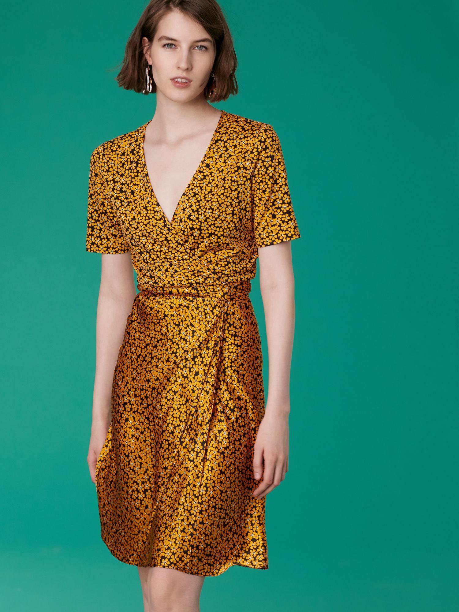 2523798c69d2 Short-sleeve Satin Flare Wrap Dress by Diane von Furstenberg DVF in ...