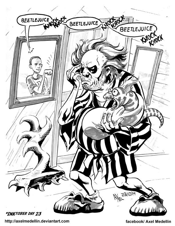 #INKtober 23. Beetlejuice and Sheldon. by AxelMedellin.deviantart.com on @deviantART