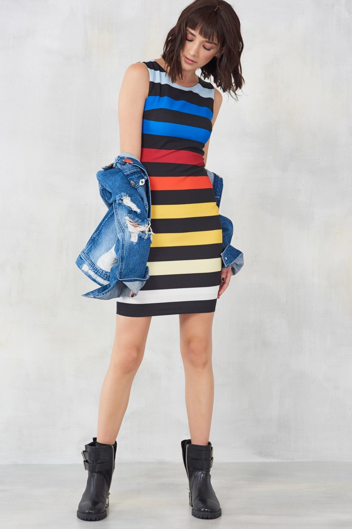 Renkli Cizgili Elbise Trendyolmilla Trendyol Cizgili Elbise Elbise Trendler