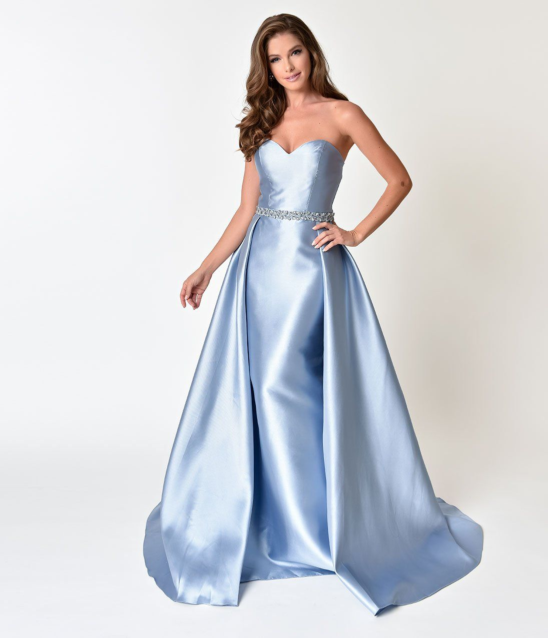 50s Formal Evening Gowns Perry Blue Strapless Sweetheart Neckline Satin Prom Gown Sweetheart Prom Dress Hot Pink Prom Dress Evening Dresses Vintage [ 1275 x 1095 Pixel ]