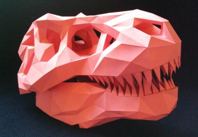 Origami Snapping T. Rex Head - YouTube | 442x637