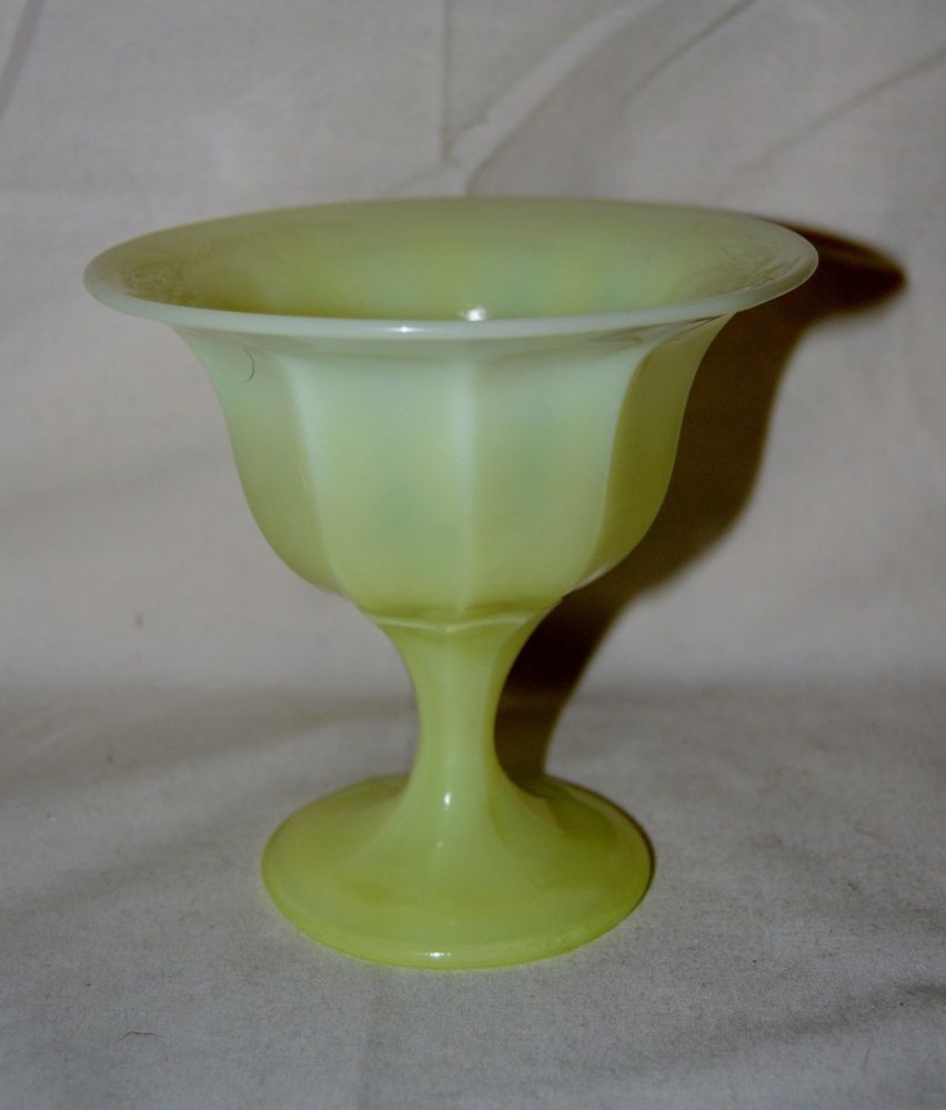 Light Yellow Milk Glass Footed Bowl Compote