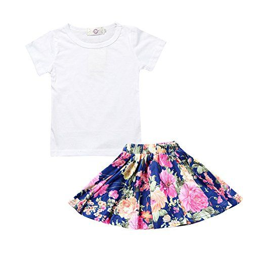 ac4a7ec0583e Kids Tales Summer 2 Piece Girl's White Short Tee and Flower Print Skirt Set