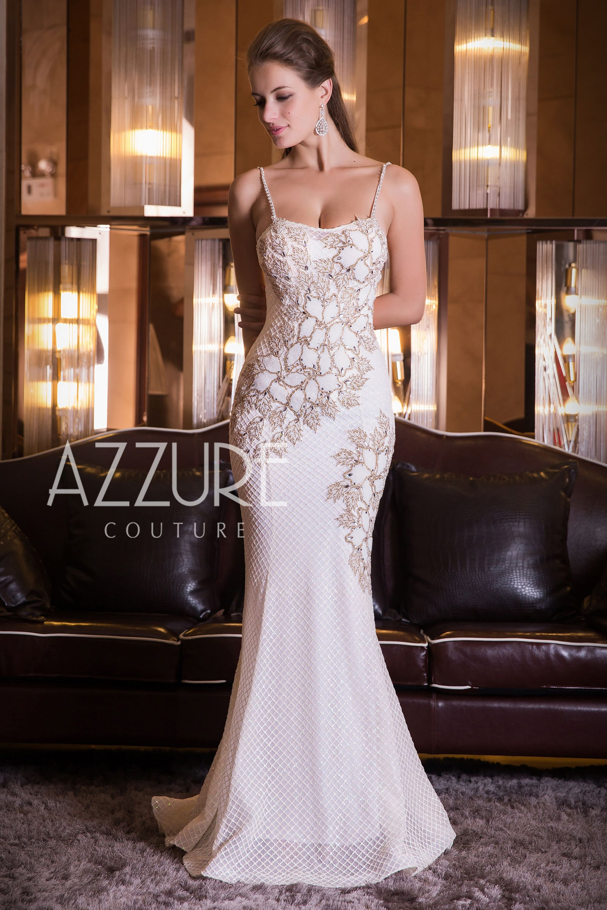 Spaghetti strap evening dress with beaded lace appliques ivory