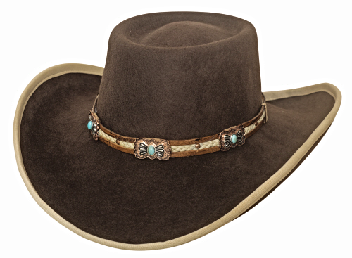 69.00$  Watch now - http://vibvj.justgood.pw/vig/item.php?t=1n5lm7134888 - Bullhide Mind Reader Wool Gambler Cowgirl Hat Bound Brim Turquoise Conchos Brown 69.00$