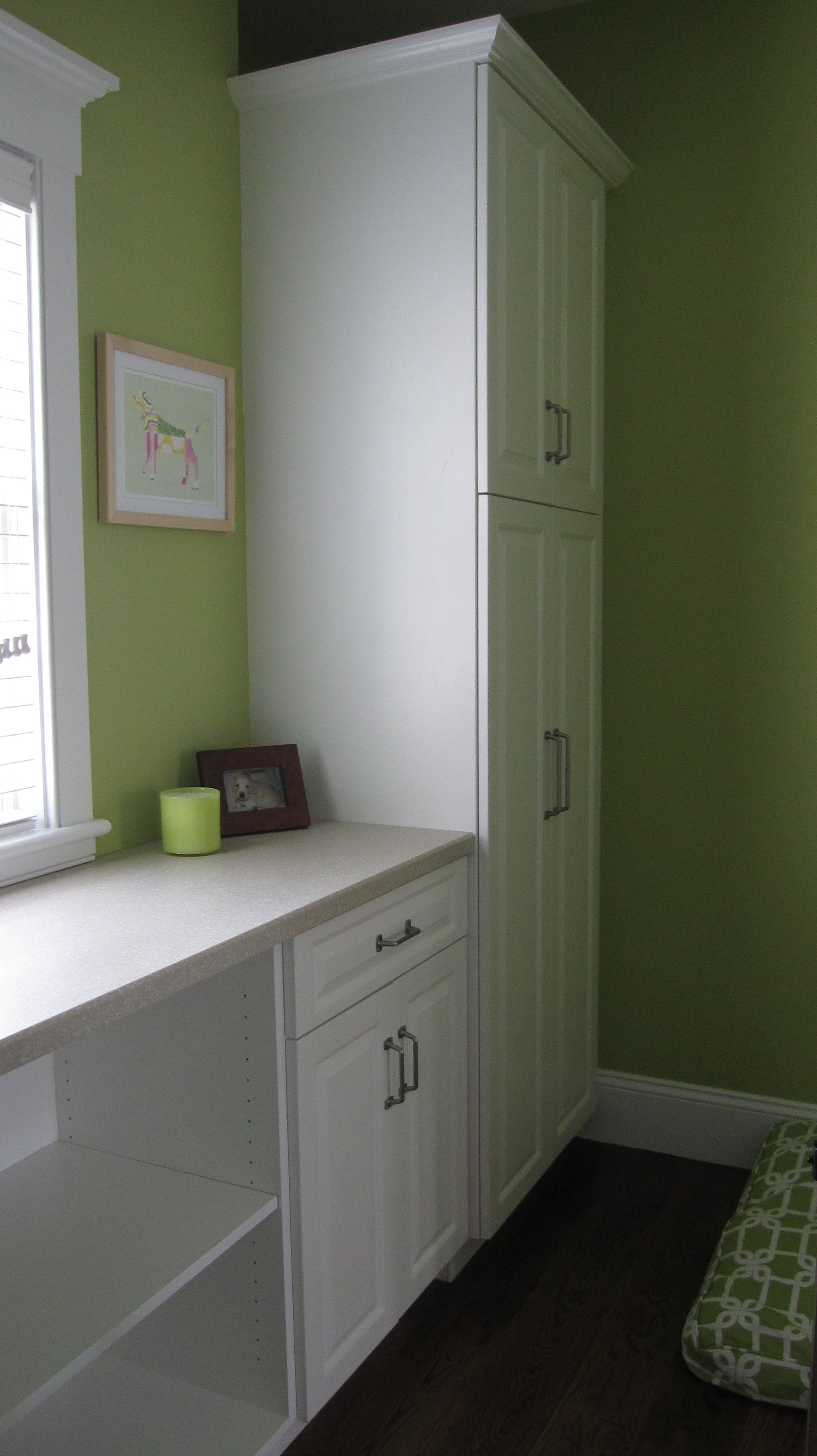 Laundry Room Built Ins   Tall Split Cabinet For Broom, Mop, Etc On