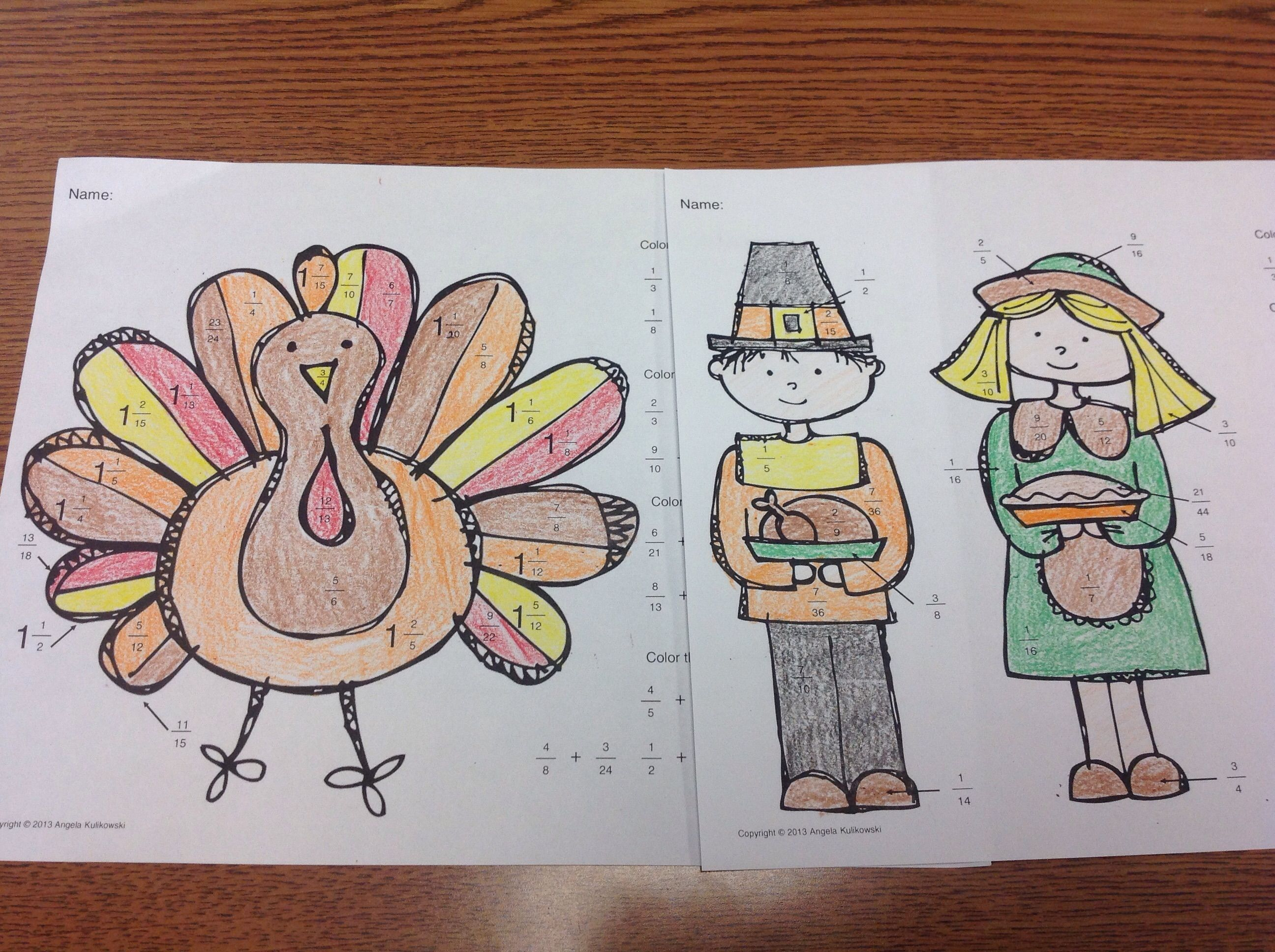 Thanksgiving Fraction Addition And Subtraction Activity