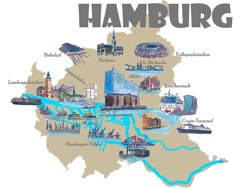Hamburg Highlights Top Ten Sehenswurdigkeiten Karte Buy This Artwork On Apparel Stickers Phone Cases Und More Hamburg Poster Online Reisekarten