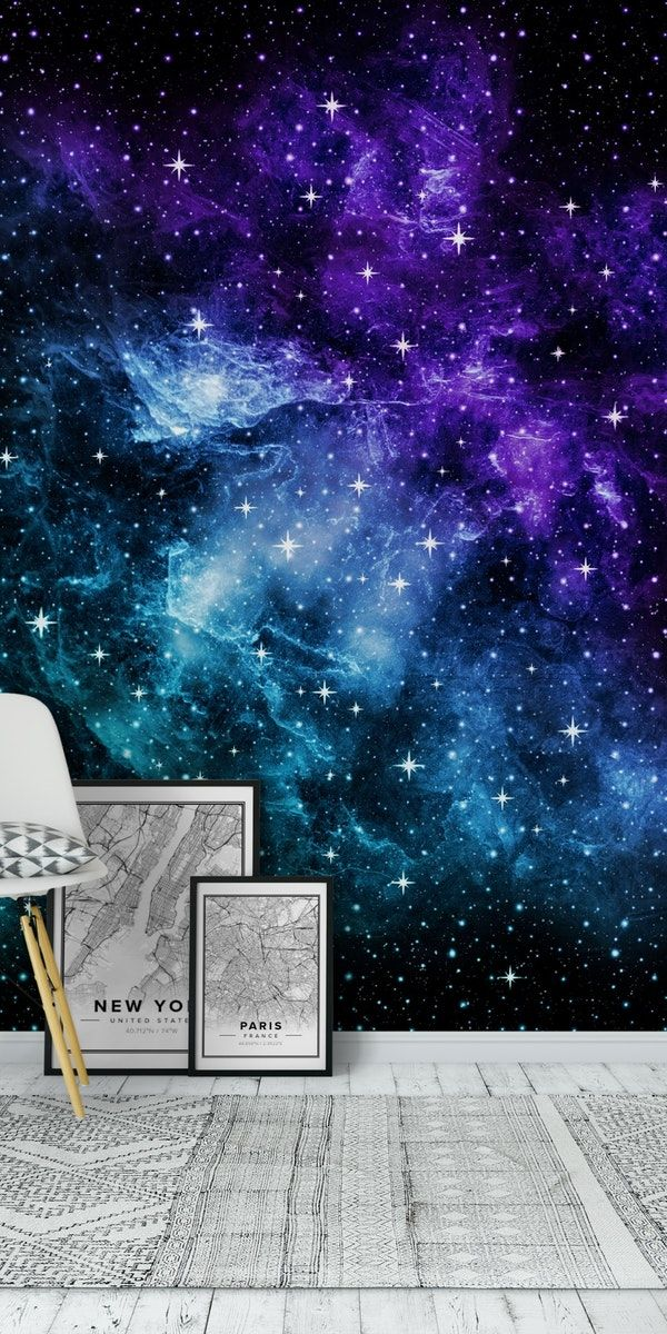 Purple Teal Galaxy Nebula 1 Wall mural Wall murals