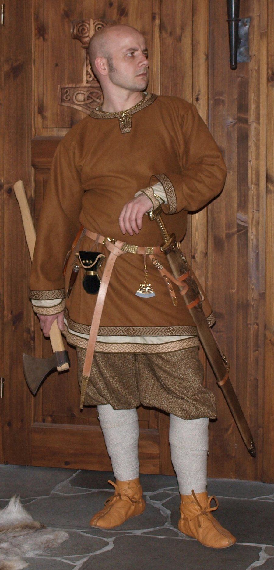 """Male Viking outfit by darksuntattoo. """"Rus"""" pants, winingas, tunic with birka tablet-weaving."""