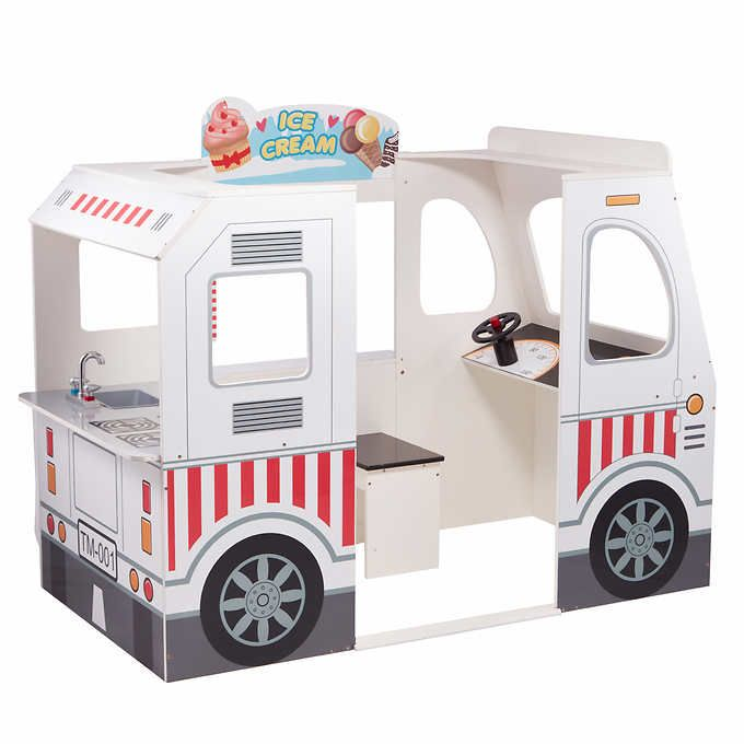 Teamson Kids Tasty Treats Food Truck with 10-piece Wooden Food Accessories