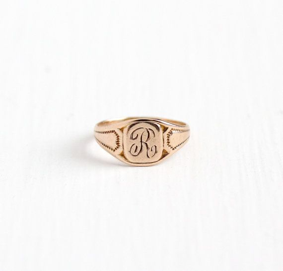 Vintage 10k Rosy Yellow Gold Letter R Signet Ring 1920s Art Etsy Monogram Ring Initial Jewelry Signet Ring