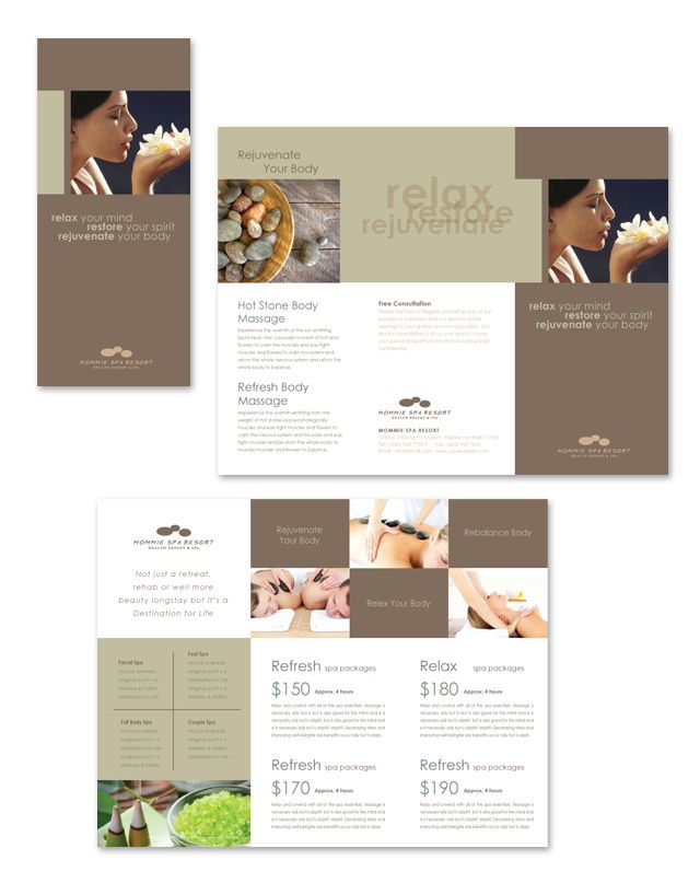 Wellness Spa Resort Tri Fold Brochure Template  Salon Inspiration