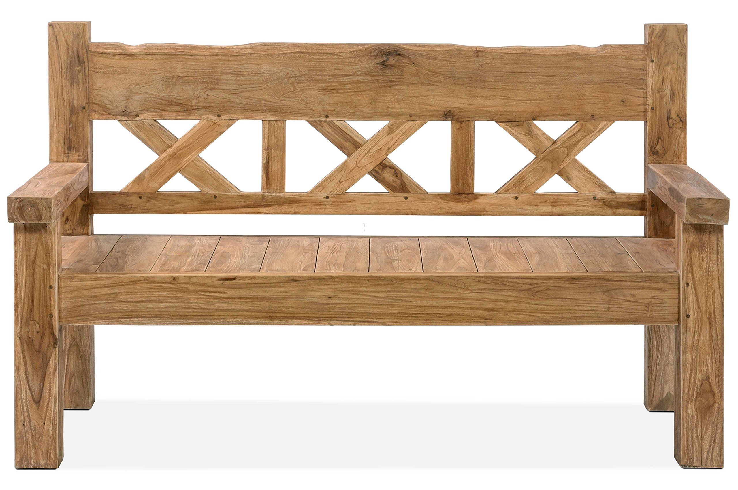 Amazon De Outflexx Gartenbank Grosse Sitz Bank In Natur Rustikal Geburstet Gartenbank Aus Teak Holz Ho Gartenbank Holz Rustikal Gartenmobel Design Teak Holz