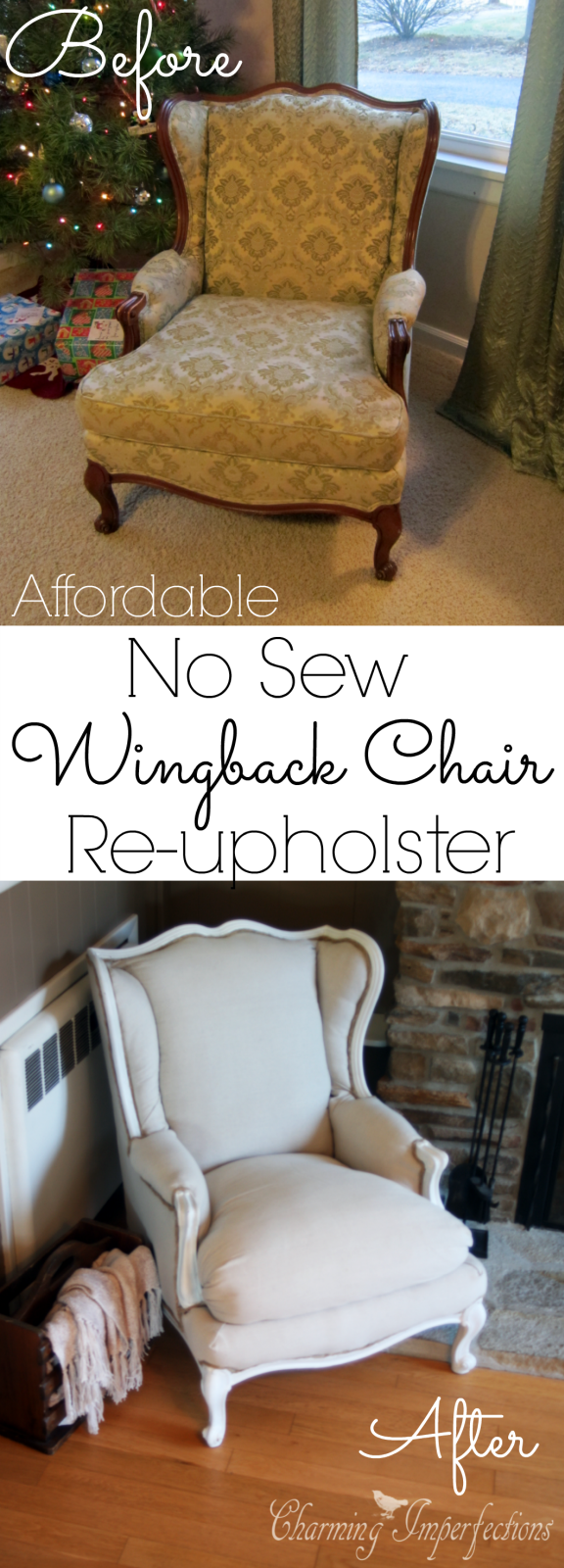 Super Affordable DIY No Sew Wingback Chair Re Upholster What A Transformation