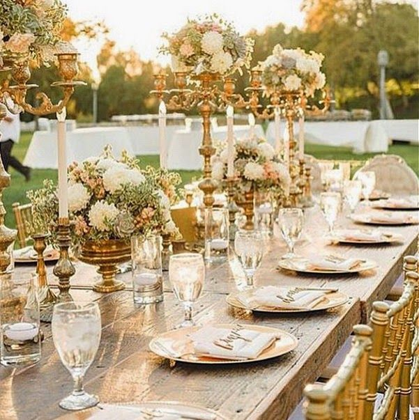 Gold Wedding Decorations: Stunning White And Gold Outdoor #wedding. #weddingplanning