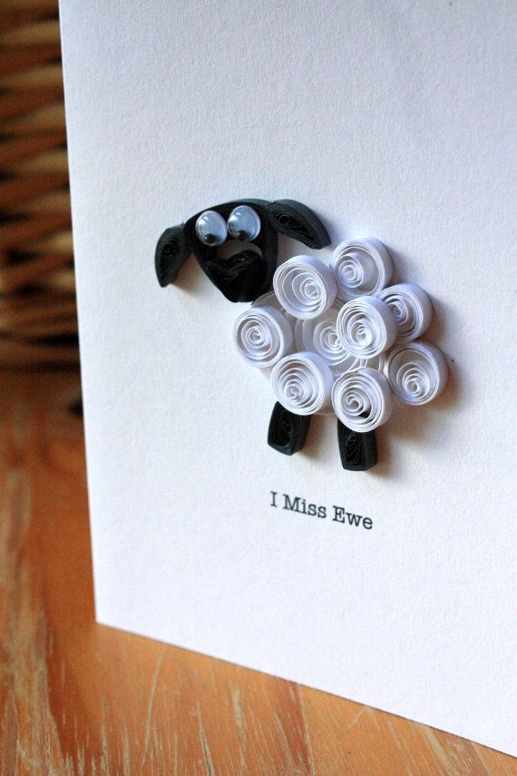 I Miss Ewe - Quilled Sheep Card - Unique Greetings Card - Miss You