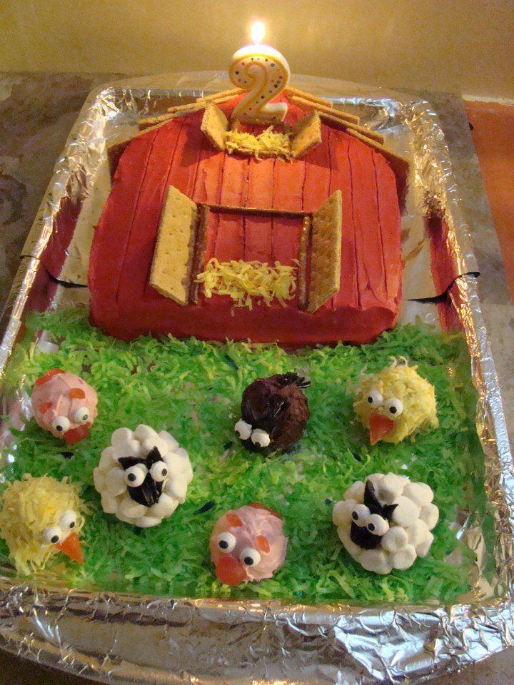 Barn Cake With Farm Animal Cupcakes Recipe Birthday