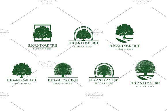 Green Oak Tree Logo vol 1 @creativework247 Logo Design - Logo - editable leaf template