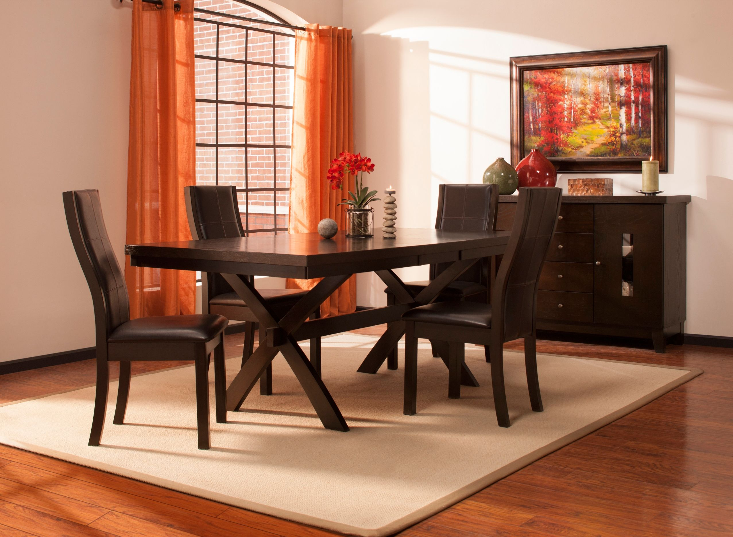 This gibson 5 piece dining set is sleek contemporary furniture with a little something extra