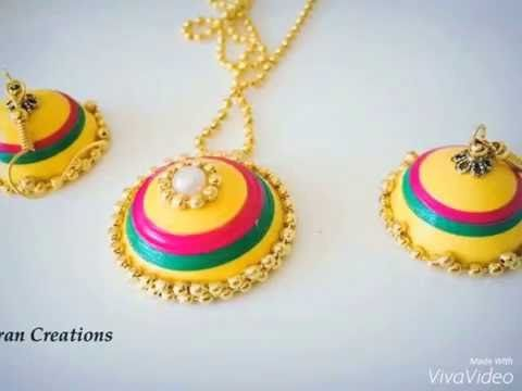 Paper Quilling jewelry set - YouTube