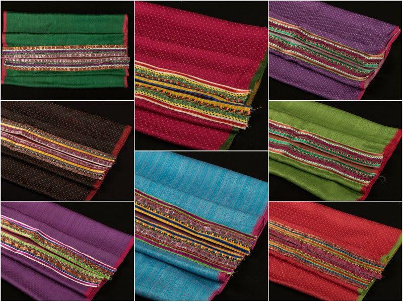 Mashru Silk Blouse Materials with Kutch Pabi