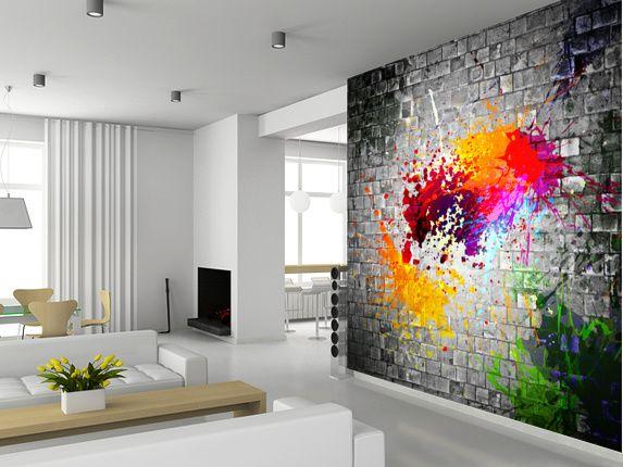 Ink Splatter wall mural room setting