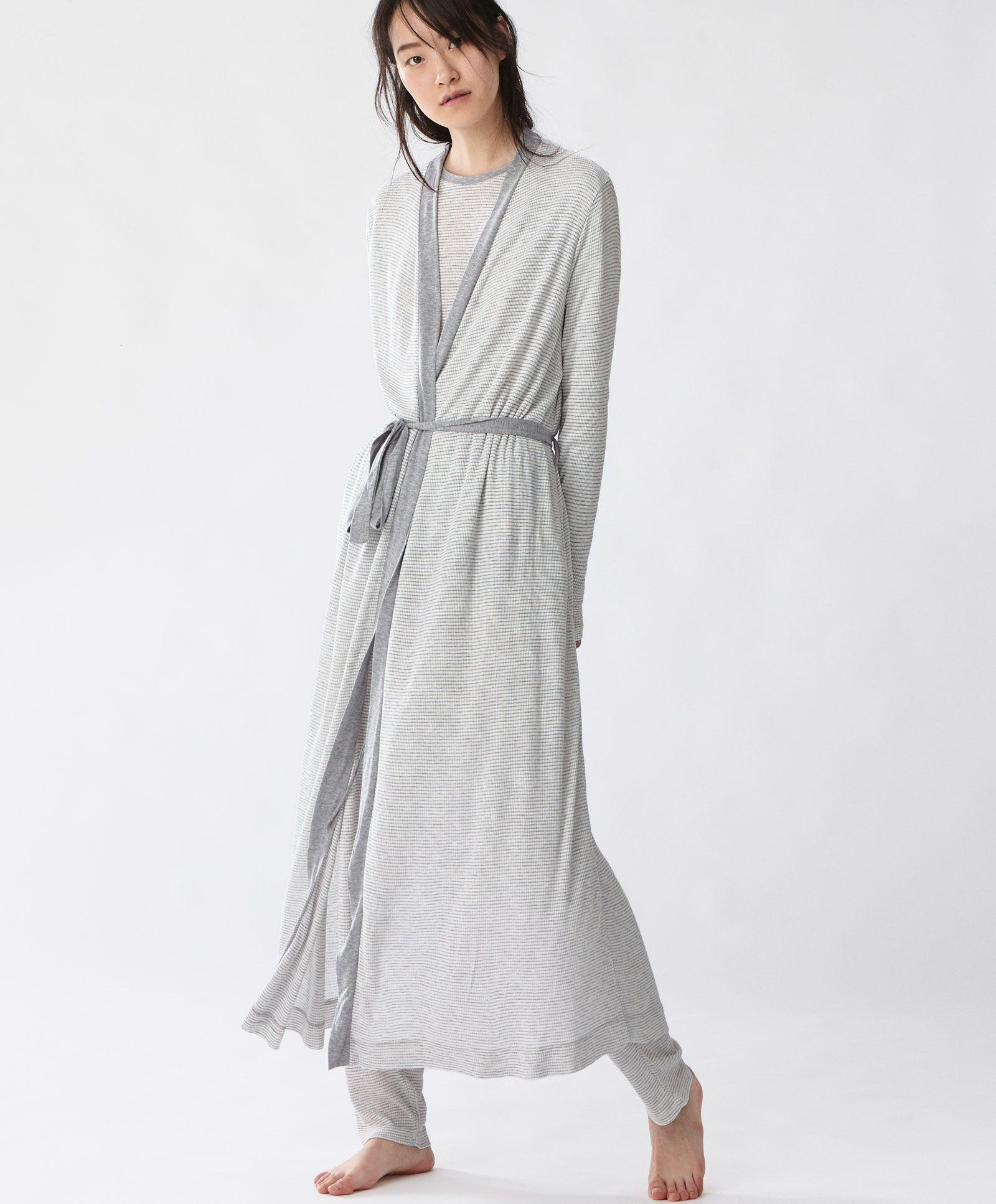 Striped dressing gown - New In - PYJAMAS | Oysho | christmas | Pinterest