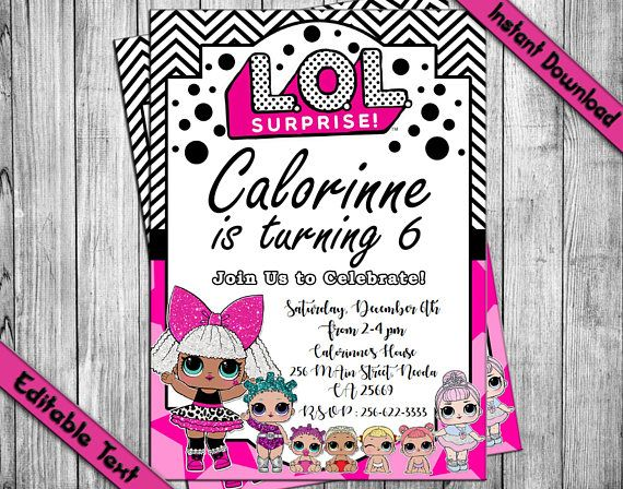 LOL SURPRISE Invitation Surprise Doll Party Lol