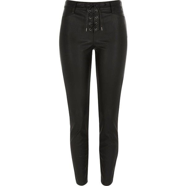 River Island Black lace-up leather-look trousers (33 CAD) ❤ liked on Polyvore featuring pants, bottoms, jeans, sale, lace up pants, tall pants, river island, fake leather pants and boho chic pants