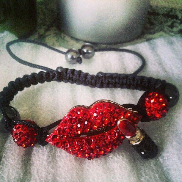 Only 1left. Pavevred lips shamballa bracelet $35