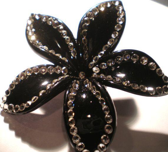 Hawaiian Black Plumeria Swarovski Crystal Hair by jeweltrinkets, $14.00