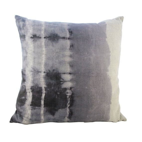 Hand Dyed Shibori Linen Pillow Linen Pillows Pillows Shibori