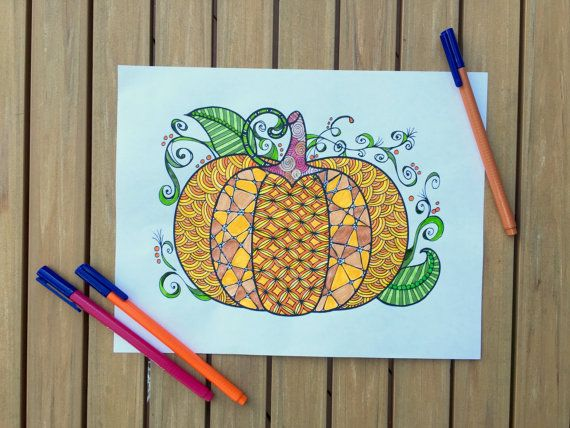 Fall Pumpkin Coloring Page Zentangle By TheTangledCat