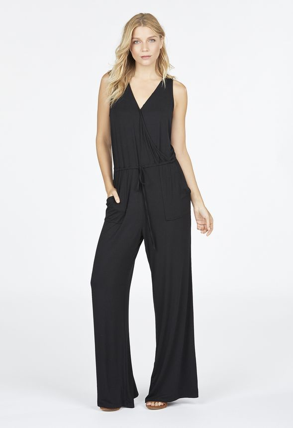 c874a6526d5b This jumpsuit will be your strong suit! With a crossover bust construction  and flowy pant legs