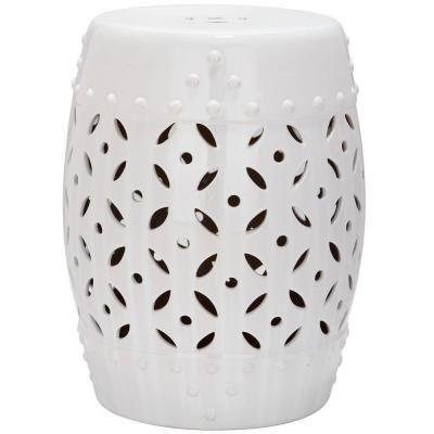 Attractive Safavieh Lattice Coin White Ceramic Patio Stool | White Ceramics, Stools  And Coins