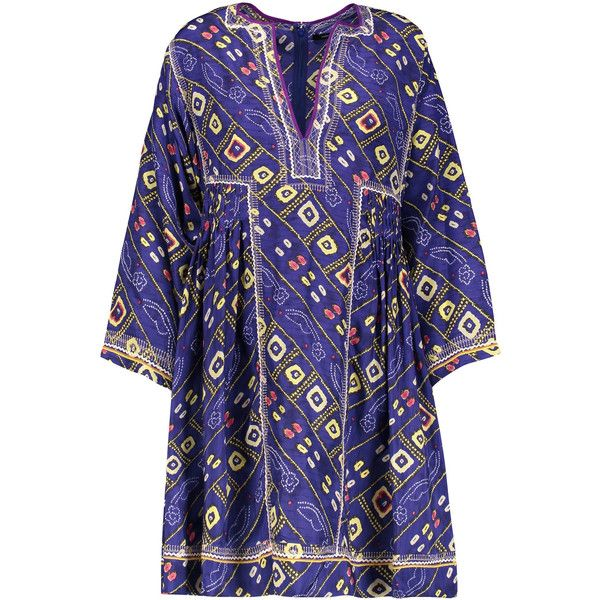 Isabel Marant Thurman embroidered printed silk mini dress ($325) ❤ liked on  Polyvore featuring
