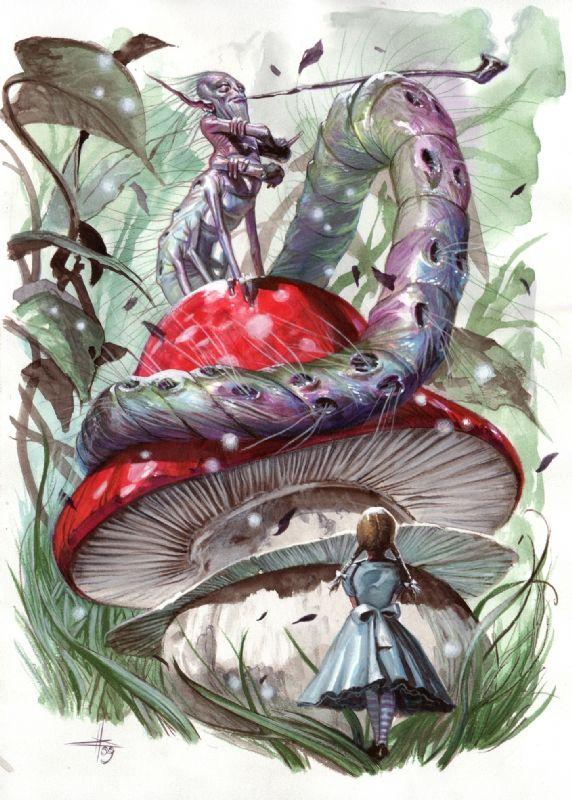 Caterpillar Alice In Wonderland Original Art Gabriele Dell Otto Comic Alice In Wonderland Drawings Alice In Wonderland Original Caterpillar Alice In Wonderland