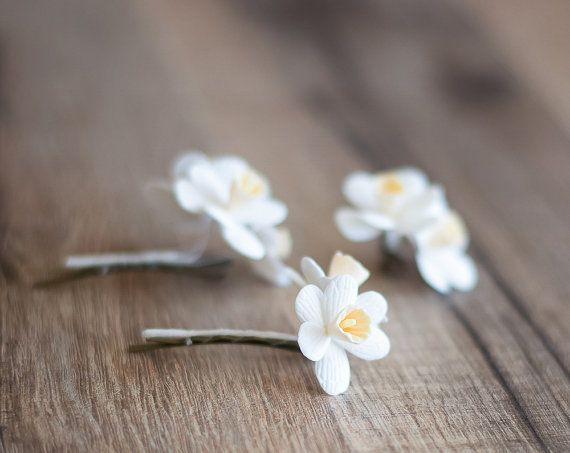 Bridal flower hair clips white flower hair by gentledecisions bridal flower hair clips white flower hair by gentledecisions mightylinksfo
