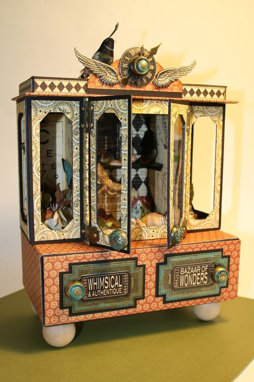 Curio Cabinet by @LauraDenison of Follow the Paper Trail. Products used: #Graphic45 Olde Curiosity Shoppe and Metal Staples