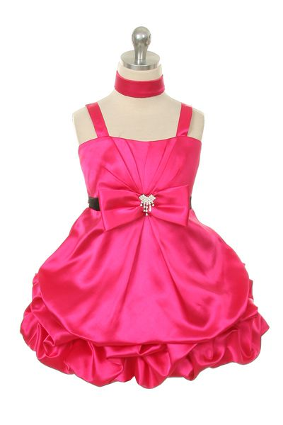 Flower Girl Dress Style 244 - Satin Dress with Pick Up Skirt $49.99