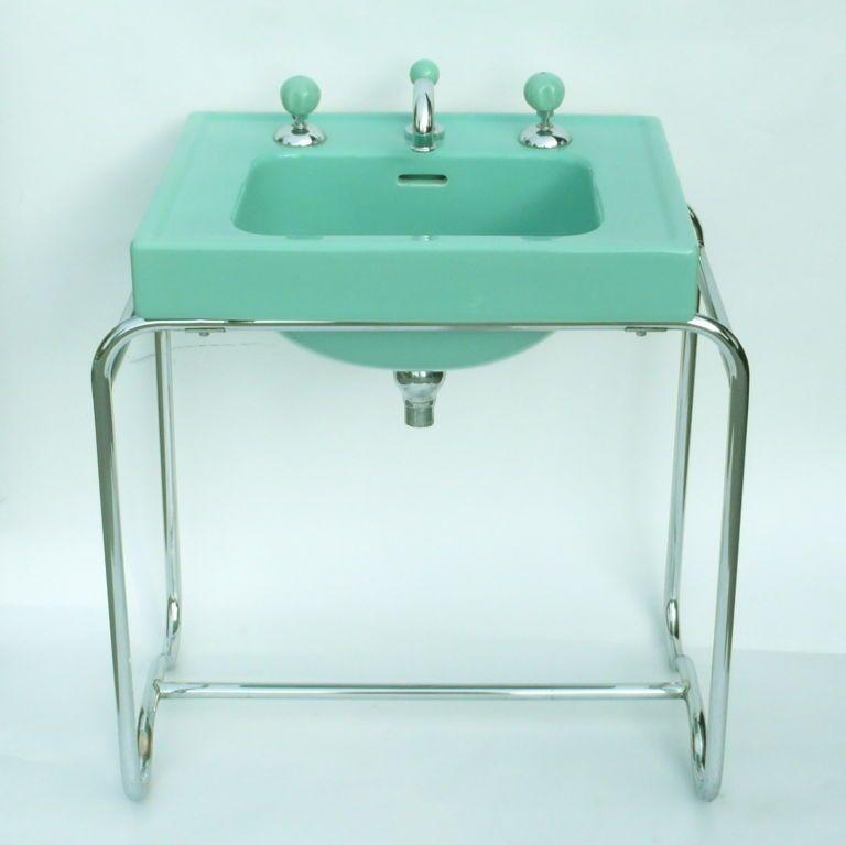 Charming Iconic Original Streamline Art Deco Sink By George Sakier