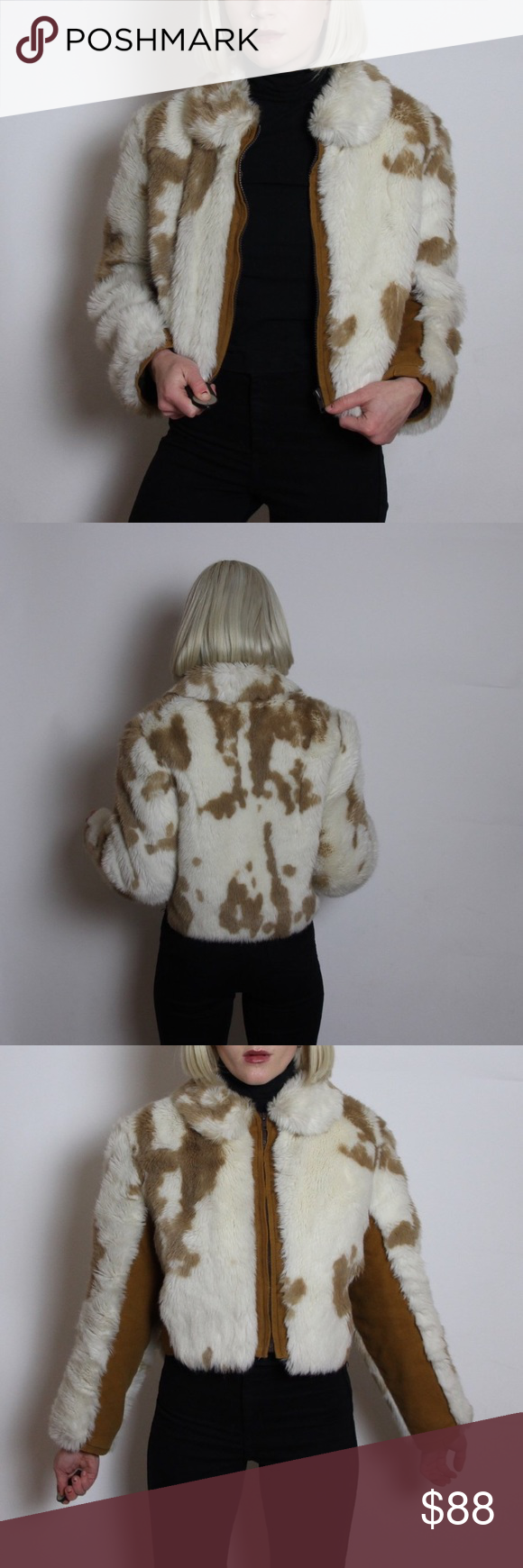 12d709860e3a2 Cropped Faux Fur Suede Cow Print Coat in Brown 🐒 the dreams moo come true