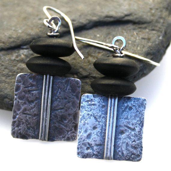 Sterling silver and matt onyx earrings by DeborahJonesJewelry