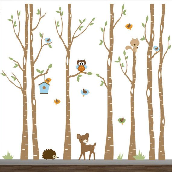 Nursery Wall Decals-Birch Trees Decal-Tree Wall Decal-Forest Wall ...
